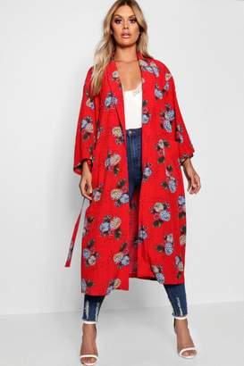 boohoo Plus Floral Print Kimono Duster Jacket