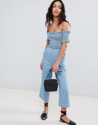 Bardot ASOS DESIGN denim shirred jumpsuit in lightwash blue
