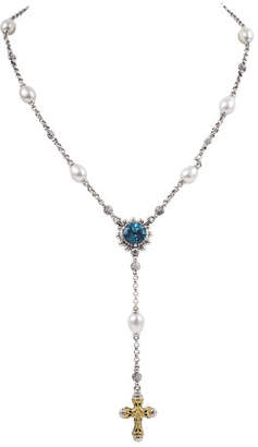 Konstantino Kleos Blue Topaz, Pearl & Cross Lariat
