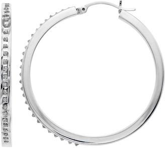 Mystique Platinum Over Silver Diamond Round Hoop Earrings