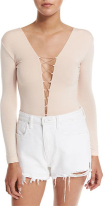 T by Alexander Wang Long-Sleeve Laced Bodysuit, Blush $160 thestylecure.com