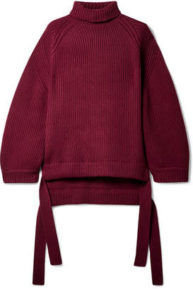 Ellery Wallerian Oversized Tie-detailed Wool-blend Turtleneck Sweater - Burgundy