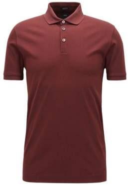 BOSS Hugo Mercerized Cotton Polo Shirt, Regular Fit T-Perry L Dark Red