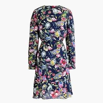 J.Crew Petite long-sleeve flouncy-hem dress in painted floral