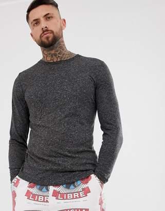 Asos Design DESIGN longline long sleeve t-shirt with curved hem in linen mix