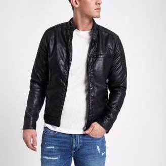 River Island Black faux leather racer jacket