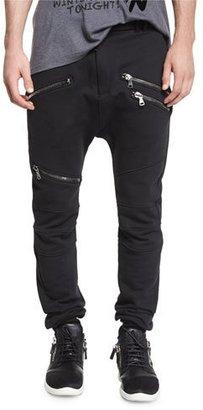 Pierre Balmain Drawstring Biker Sweatpants, Black $675 thestylecure.com
