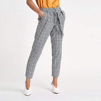 River Island Womens Petite Black check tapered trousers