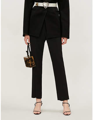 Self-Portrait Split-hem tapered crepe trousers