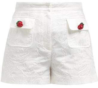 Dolce & Gabbana High Rise Cotton Blend Floral Jacquard Shorts - Womens - White