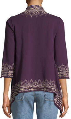 Johnny Was Flores Draped Embroidered French Terry Cardigan