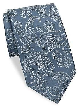 Charvet Men's Large Paisley Silk& Linen Tie