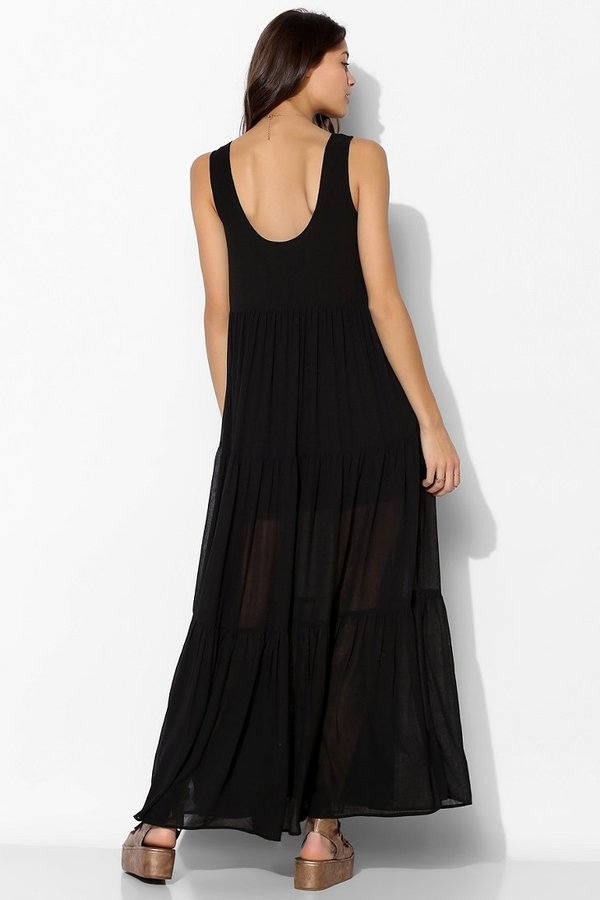 Urban Outfitters Staring At Stars Crinkle Chiffon Tiered Maxi Dress