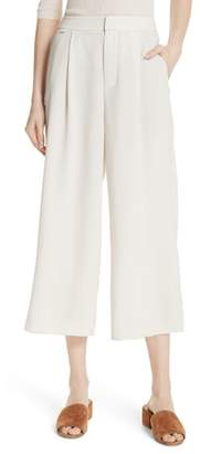 Vince High Waist Wide Leg Crepe Crop Pants