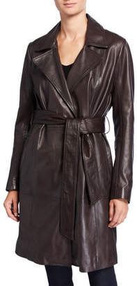 Neiman Marcus Leather Collection Belted Leather Trench Coat