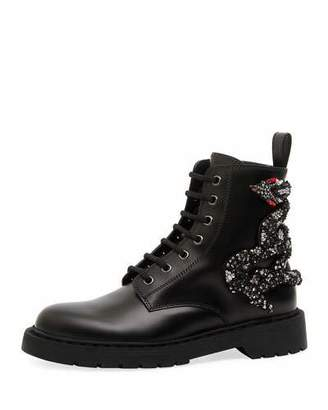 Valentino Snake Leather Combat Boot