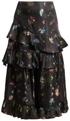 Preen by Thornton Bregazzi Naya Floral Jacquard Ruffled Skirt - Womens - Black Multi