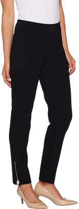 Belle By Kim Gravel Belle by Kim Gravel Goldtone Zip Ponte Knit Slim Leg Pants