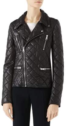 Gucci Logo Quilted Leather Biker Jacket
