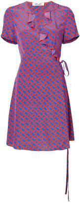 Diane von Furstenberg link print wrap dress