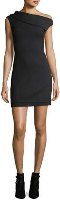 Helmut Lang Asymmetric Sleeveless Crepe Mini Dress