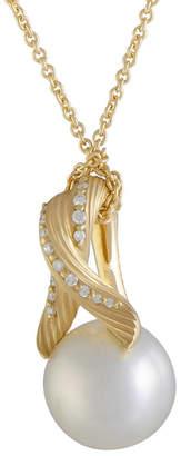 Mikimoto 18K 0.11 Ct. Tw. Diamond & 13-14Mm Pearl Necklace