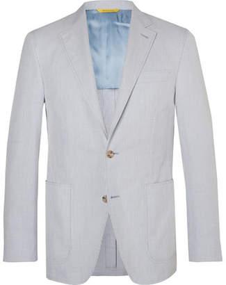 Canali Light-Blue Kei Slim-Fit Unstructured Striped Cotton Blazer