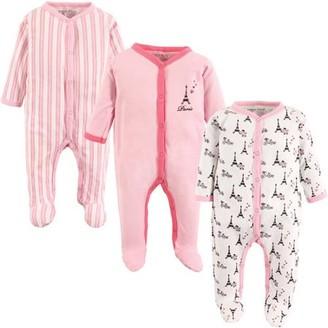 Luvable Friends Baby Girl Sleep 'N Play, 3-pack