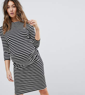 New Look Maternity stripe 3/4 length sleeve dress in black