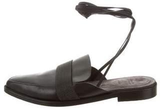 Brunello Cucinelli Monili-Embellished Pointed-Toe Mules