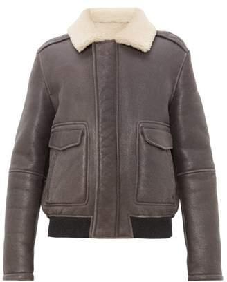 Yves Salomon Flap Pocket Shearling Aviator Jacket - Mens - Grey Multi