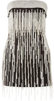 ATTICO Crystal And Faux-pearl Embellished Cotton-canvas Mini Dress - Black