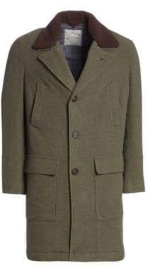 Brunello Cucinelli Wool& Cashmere Shearling-Collar Overcoat