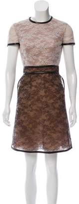 Valentino Lace Leather-Trimmed Dress