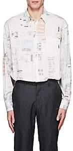 Vetements Men's Receipt-Print Cotton Oversized Shirt - White