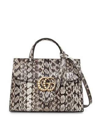 Gucci GG Marmont Small Pearly Snakeskin Top-Handle Satchel Bag, Natural