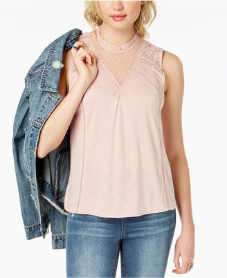 American Rag Juniors' Lace Illusion Tank Top, Created for Macy's