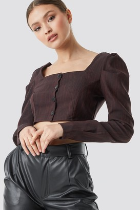 Trendyol Button Detailed Cropped Top Burgundy