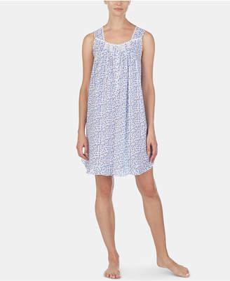 Eileen West Lace-Trim Floral-Print Cotton Chemise Nightgown