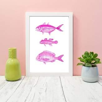 Lelloliving Framed Vintage Pink Fish Illustration Print