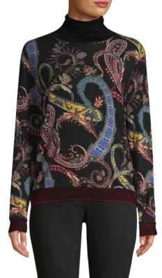 Etro Printed Wool-Blend Turtleneck Sweater