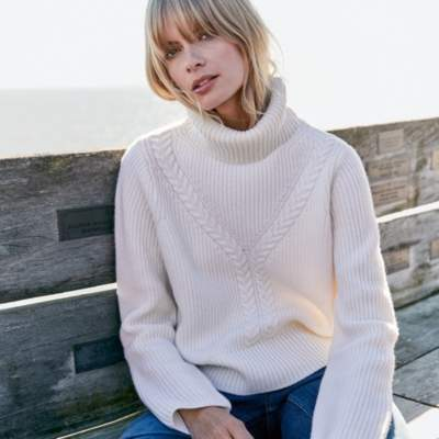 Wool Cable Funnel Neck Jumper