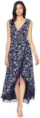 BB Dakota RSVP Kelli Ruffle Neck Printed Dress Women's Dress