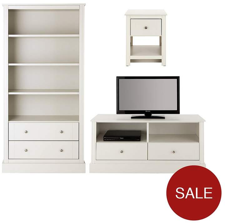 Dover Ready Assembled 3 Piece Living Room Set - Storage Bookcase, TV Unit And Lamp Table - White