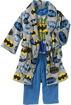 DC Comics Toddler Boys 3 Piece Batman Bathrobe & Pajama Set Size 3T, Toddlers