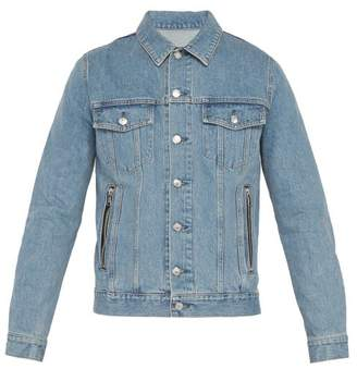 Balmain Coin Logo Embroidered Denim Jacket - Mens - Blue