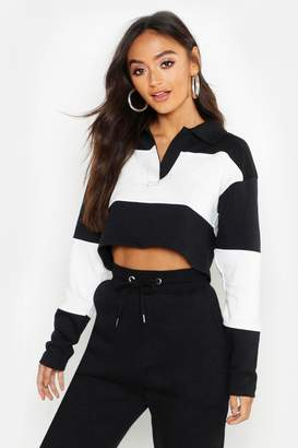 0599e612acd57 boohoo Petite Colour Block Rugby Crop Sweat Top