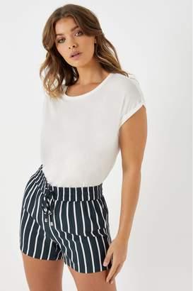 JDY Womens Stripe Print Shorts - Blue
