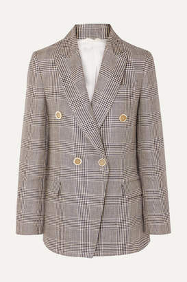 Brunello Cucinelli Double-breasted Checked Linen Blazer - Beige