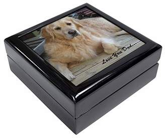 Golden Retriever 'Love You Dad' Keepsake/Jewellery Box Christmas Gift